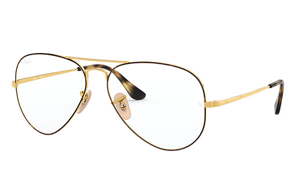 Ray-Ban 0RX6489-Aviator Optics Tortoise,Gold; Gold OPTICAL