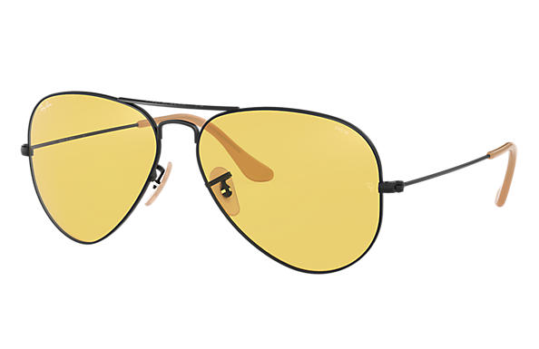 bbcbe60040 Ray-Ban Aviator Evolve RB3025 Black - Metal - Yellow Lenses ...