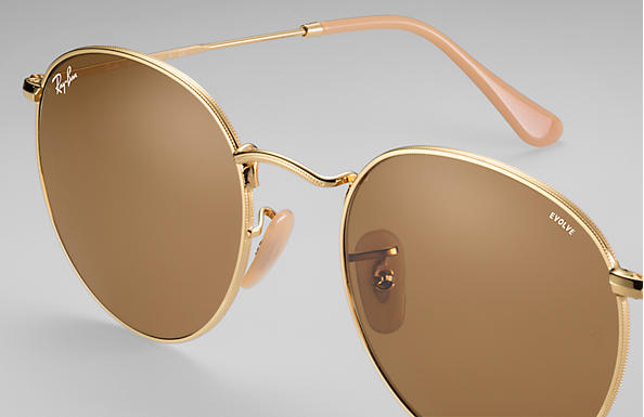 Ray-Ban Round Evolve RB3447 Gold - Metal - Brown Lenses ... 6798dc1e94