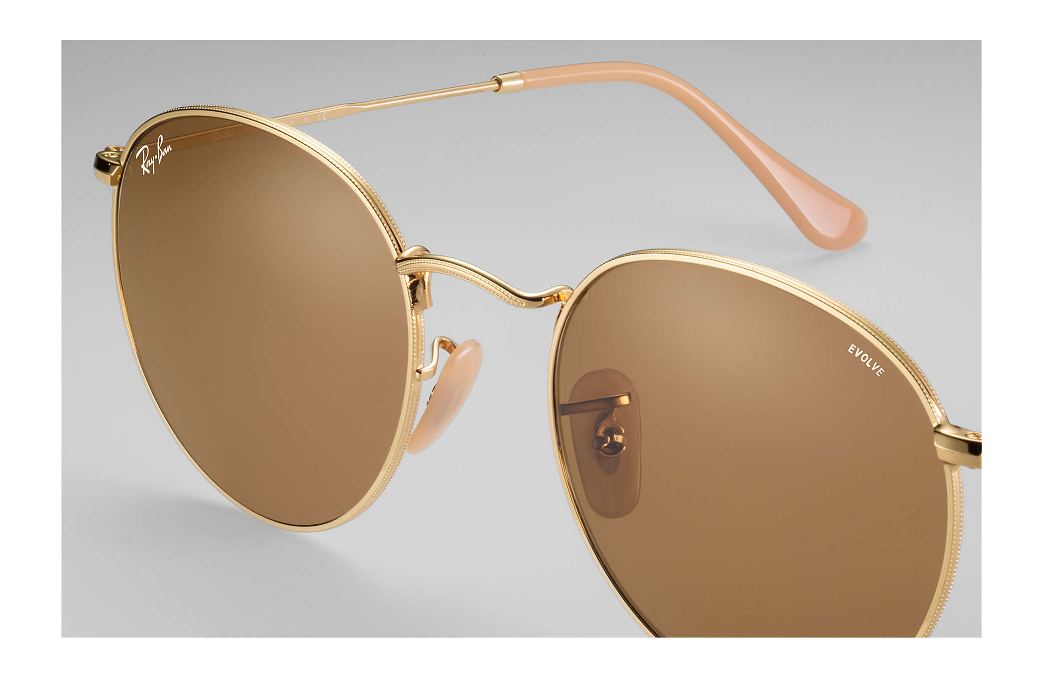 4149a68fcceea Ray-Ban Round Evolve RB3447 Gold - Metal - Brown Lenses ...