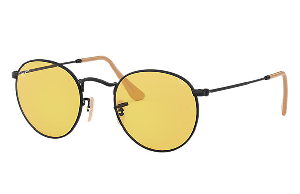 Ray-Ban Round Evolve RB3447 Black - Metal - Yellow Lenses ... c9b5cca42d
