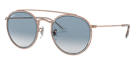 56a23863b8106 Ray-Ban ROUND DOUBLE BRIDGE Transparent with Light Blue Gradient lens