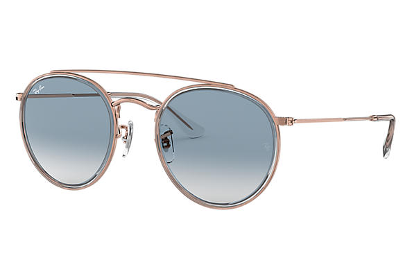 Ray-Ban ROUND DOUBLE BRIDGE Transparent with Light Blue Gradient lens
