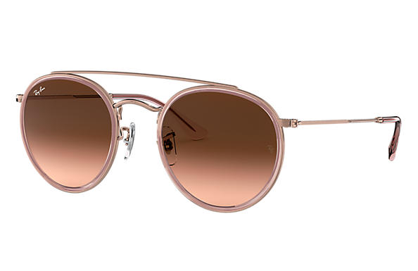Ray-Ban 0RB3647N-ROUND DOUBLE BRIDGE Polished Pink,Pink; Bronze-Copper SUN
