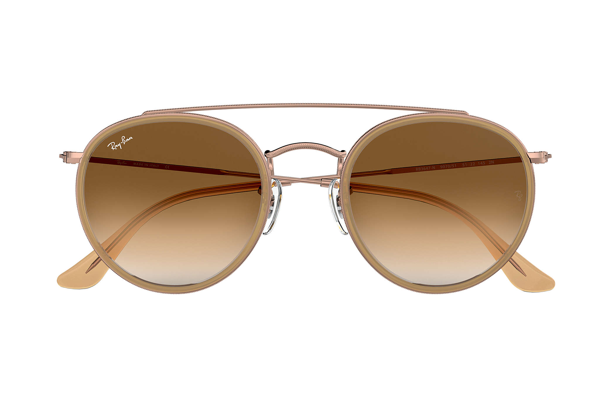 ea140bb352 ... Ray-Ban 0RB3647N-ROUND DOUBLE BRIDGE Light Brown  Bronze-Copper SUN ...