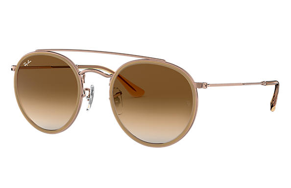 Ray-Ban 0RB3647N-ROUND DOUBLE BRIDGE Light Brown; Bronze-Copper SUN