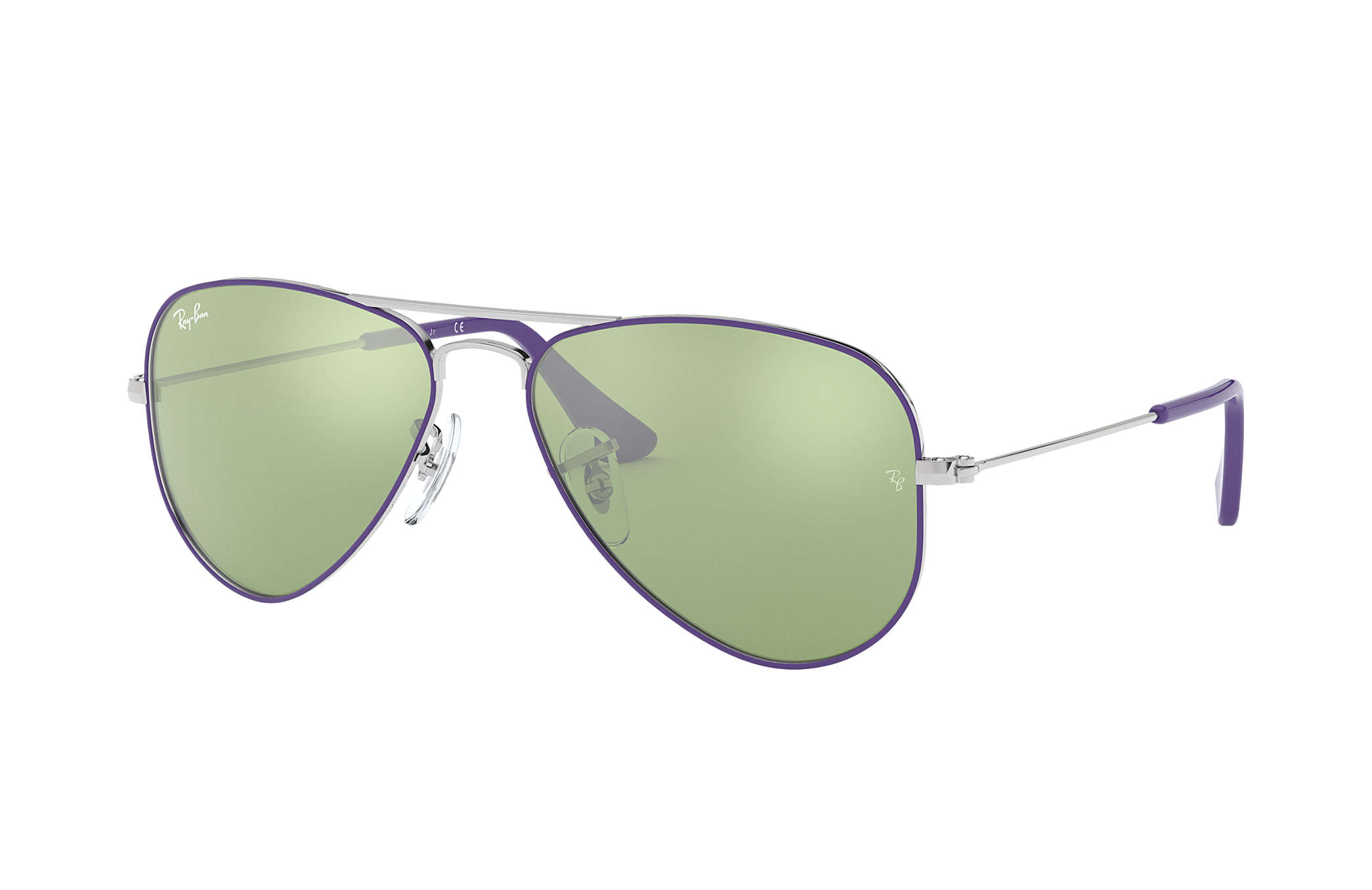 ab891d5236 Ray-Ban Aviator Junior RB9506S Purple-Reddish - Metal - Dark Green ...