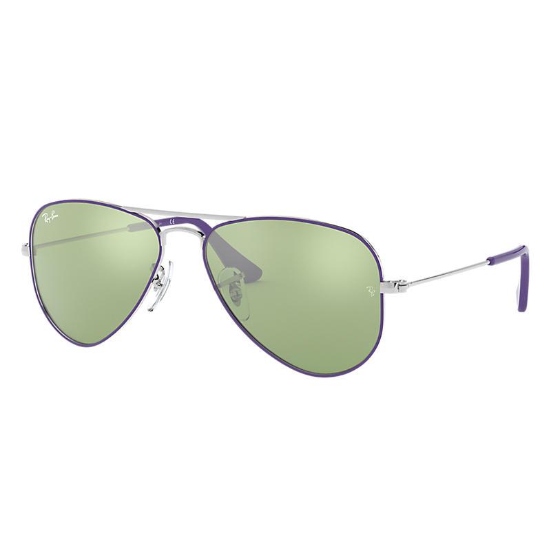Ray-Ban Aviator Junior Silver Sunglasses, Green Lenses