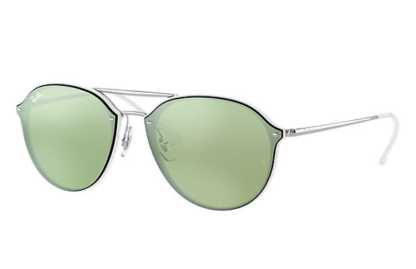 Ray-Ban Sunglasses BLAZE DOUBLE BRIDGE White with Dark Green/Silver Mirror lens