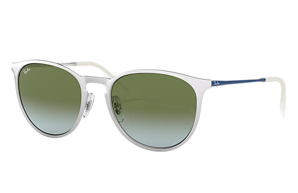 Ray-Ban Sunglasses ERIKA METAL Silver with Green Gradient lens