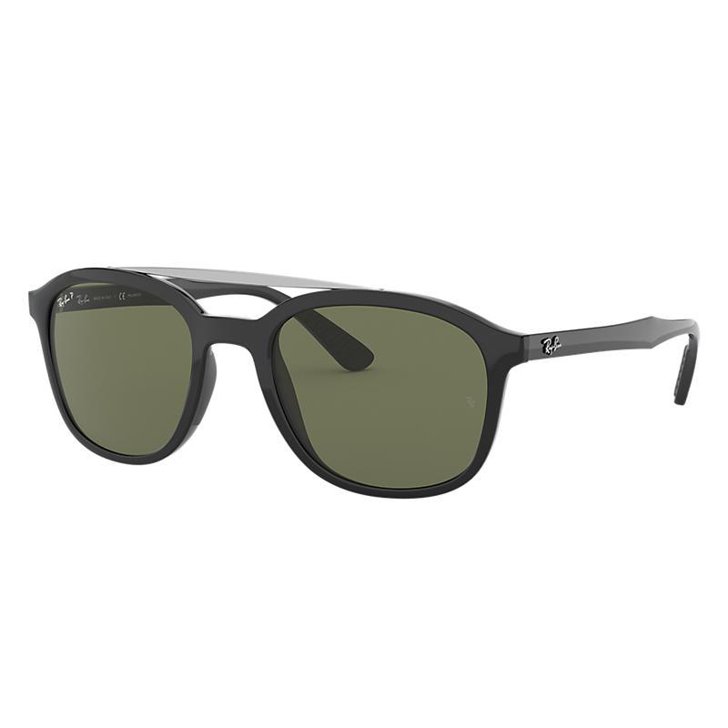 Ray-Ban Black Sunglasses, Polarized Green Lenses -