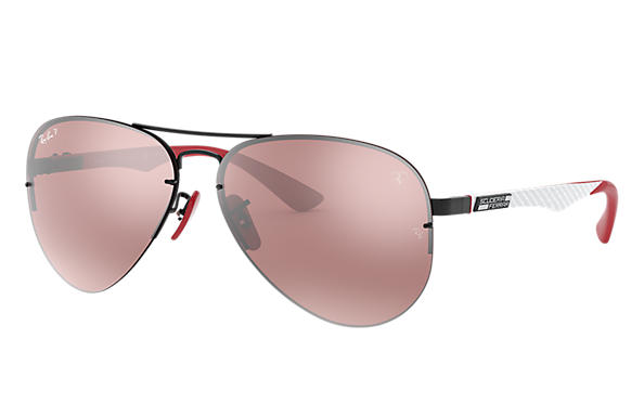Ray-Ban RB3460M SCUDERIA FERRARI COLLECTION Negro con lente Plata Mirror Chromance