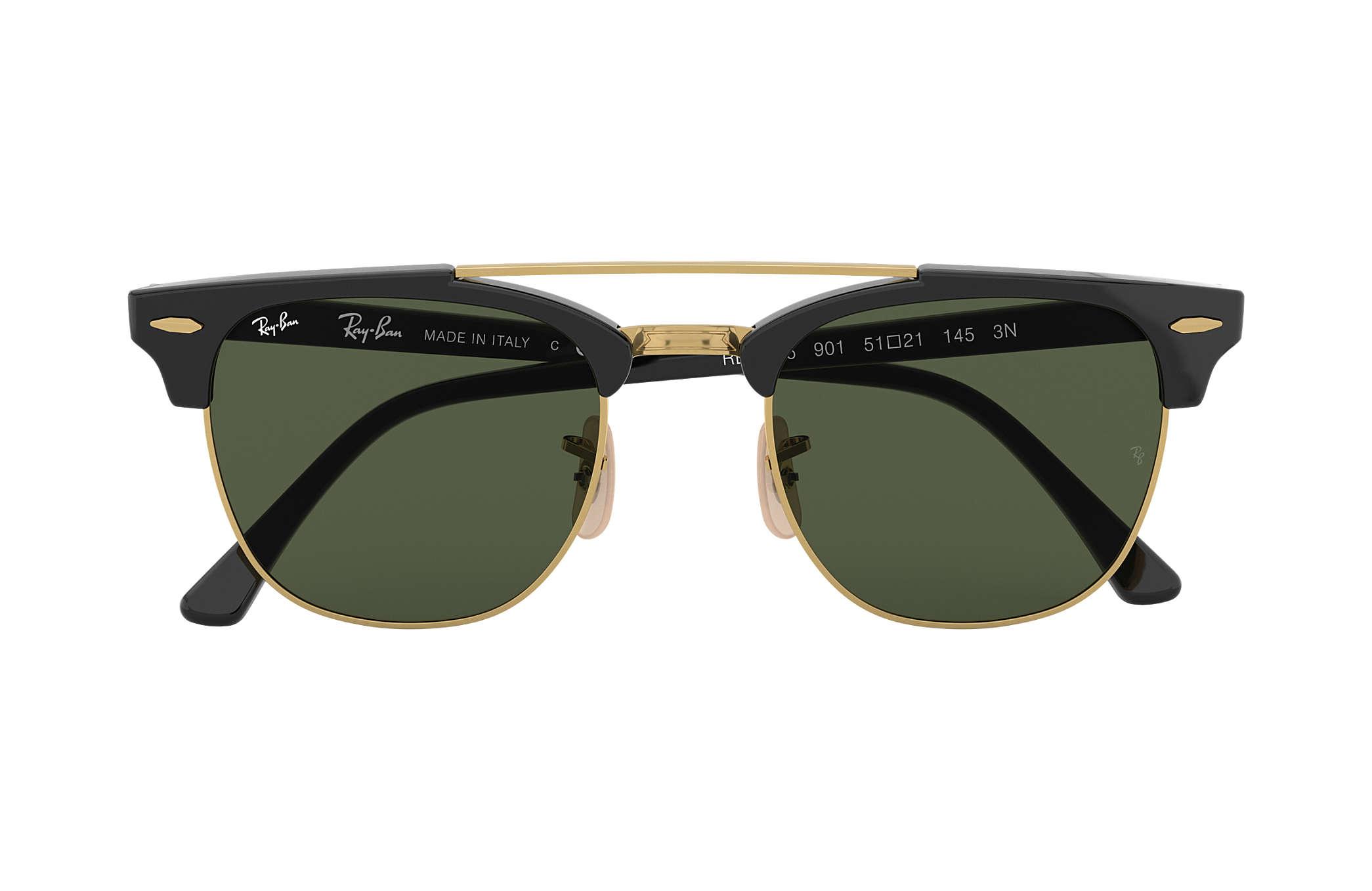 e83ce0f273e Ray-Ban Clubmaster Double Bridge RB3816 Black - Nylon - Green Lenses ...