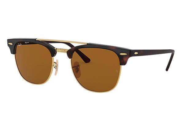 Ray-Ban Sunglasses CLUBMASTER DOUBLE BRIDGE Tortoise with Brown Classic B-15 lens