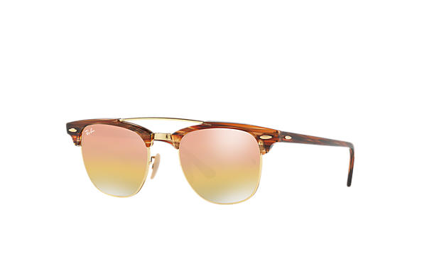 Ray-Ban 0RB3816-CLUBMASTER DOUBLE BRIDGE Marrone Chiaro SUN