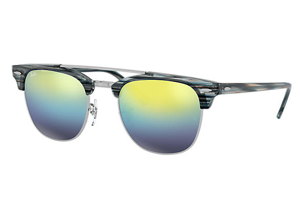 Ray-Ban Sunglasses CLUBMASTER DOUBLE BRIDGE Blue with Blue Gradient Mirror lens