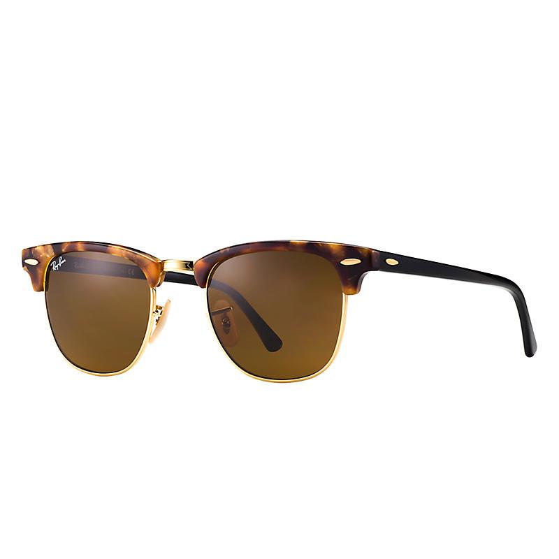 Ray-Ban Clubmaster Fleck Black Sunglasses, Brown Lenses