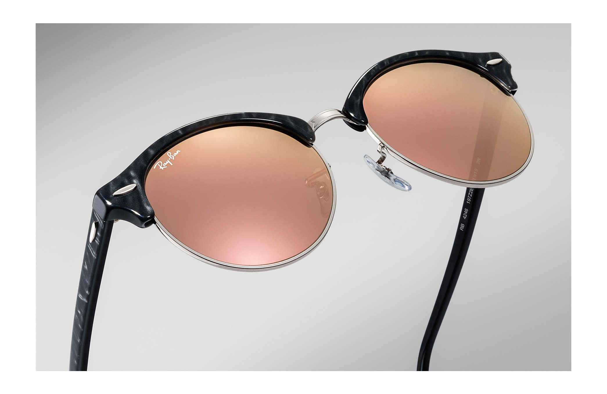 828c433d4 ... Ray-Ban 0RB4246-CLUBROUND FLASH LENSES Black,Silver; Black SUN ...