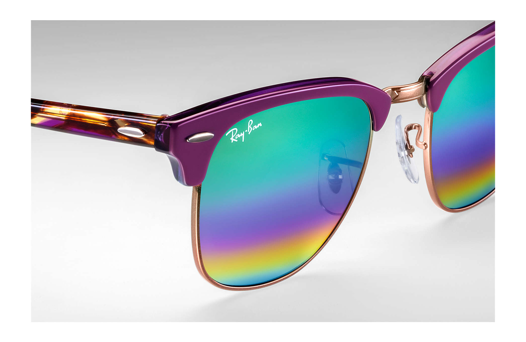 Ray-Ban Clubmaster Large Bordeaux Blue Rainbow Flash lI2mY