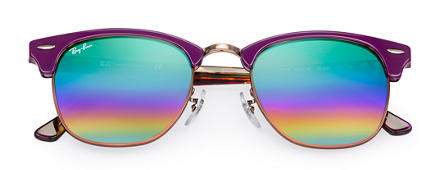 Ray-Ban CLUBMASTER MINERAL FLASH LENSES Violet avec verres Green Rainbow Flash