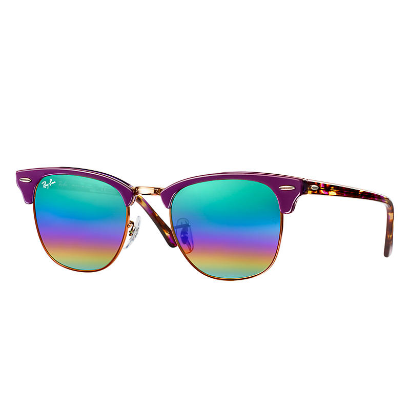 Ray-Ban Clubmaster Mineral Purple Sunglasses, Green Flash