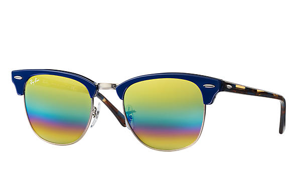 Ray-Ban 0RB3016-CLUBMASTER MINERAL FLASH LENSES Blå SUN