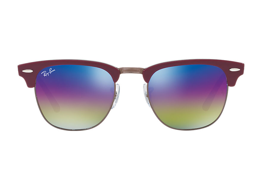 Ray-Ban Gafas-de-sol CLUBMASTER MINERAL FLASH LENSES Burdeos con lente Blue Rainbow Flash