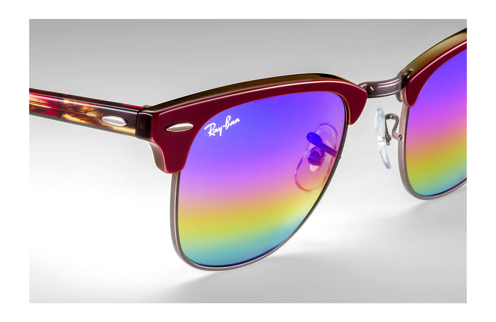 6619f26607232 ... Ray-Ban 0RB3016-CLUBMASTER MINERAL FLASH LENSES Bordeaux  Red SUN ...