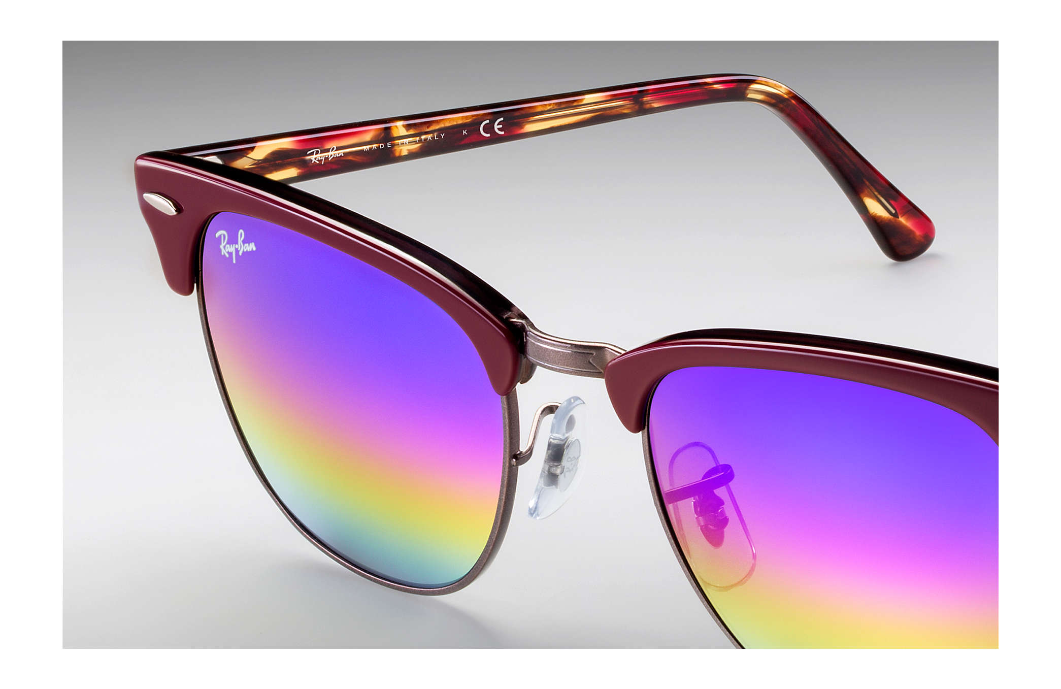 79ac1fc47c90e Ray-Ban Clubmaster Mineral Flash Lenses RB3016 Bordeaux - Acetate ...