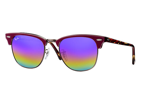 Ray-Ban		 CLUBMASTER MINERAL FLASH LENSES Bordeaux met brillenglas Blue Rainbow Flash