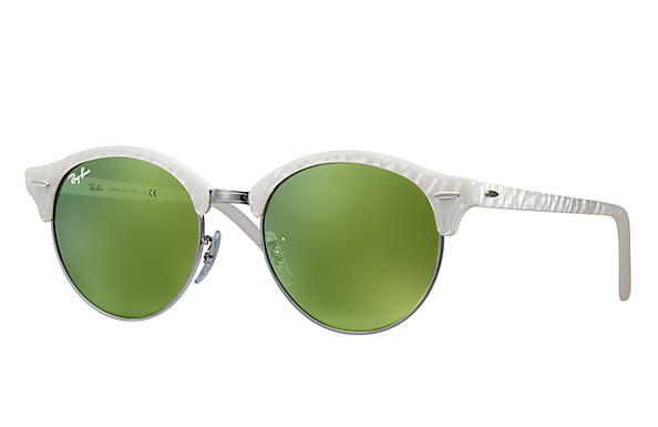 Ray-Ban 0RB4246-CLUBROUND FLASH LENSES White,Silver; White SUN