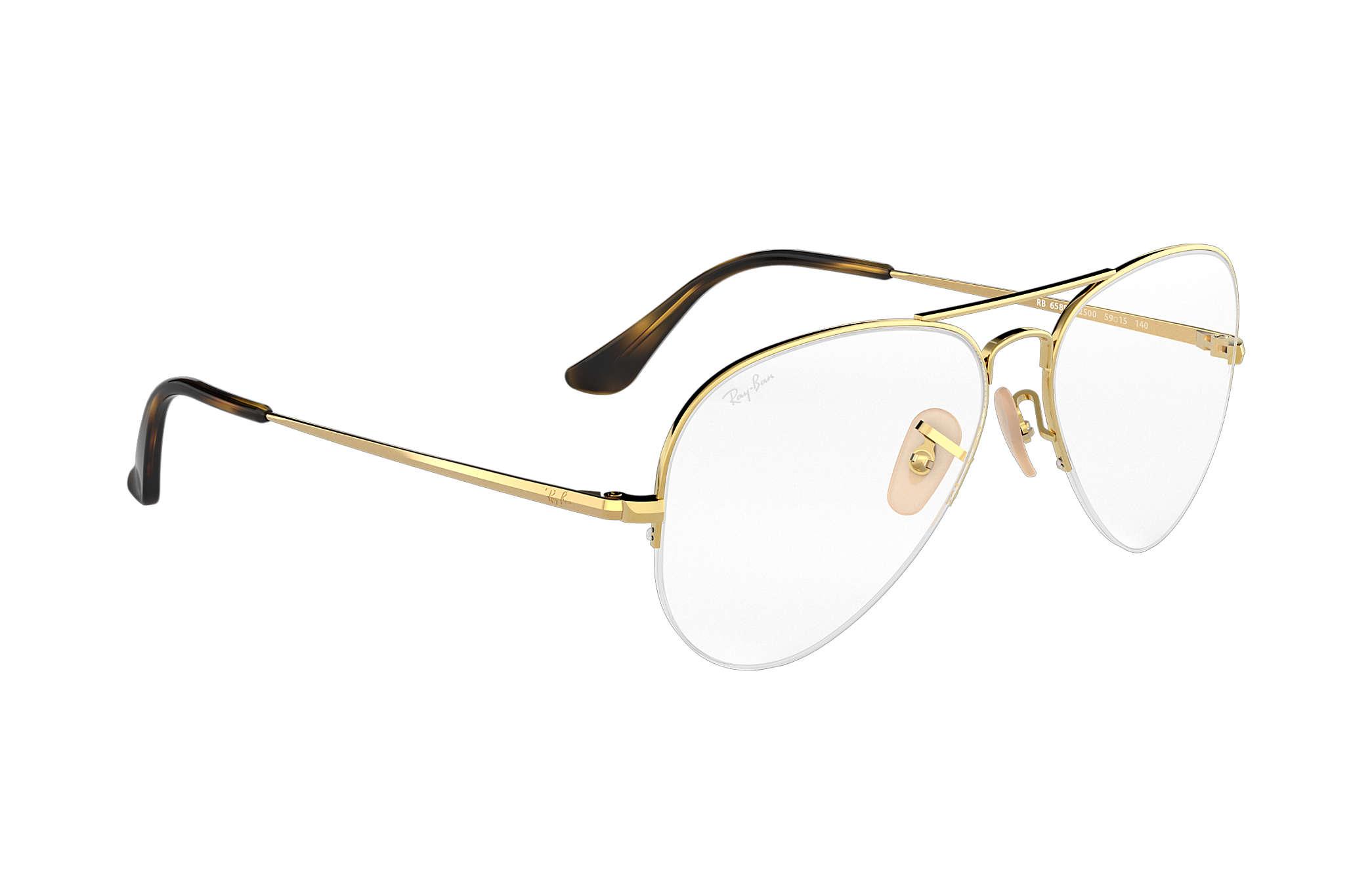 06ac4b9b5060f Ray-Ban eyeglasses Aviator Gaze RB6589 Gold - Metal - 0RX6589250056 ...