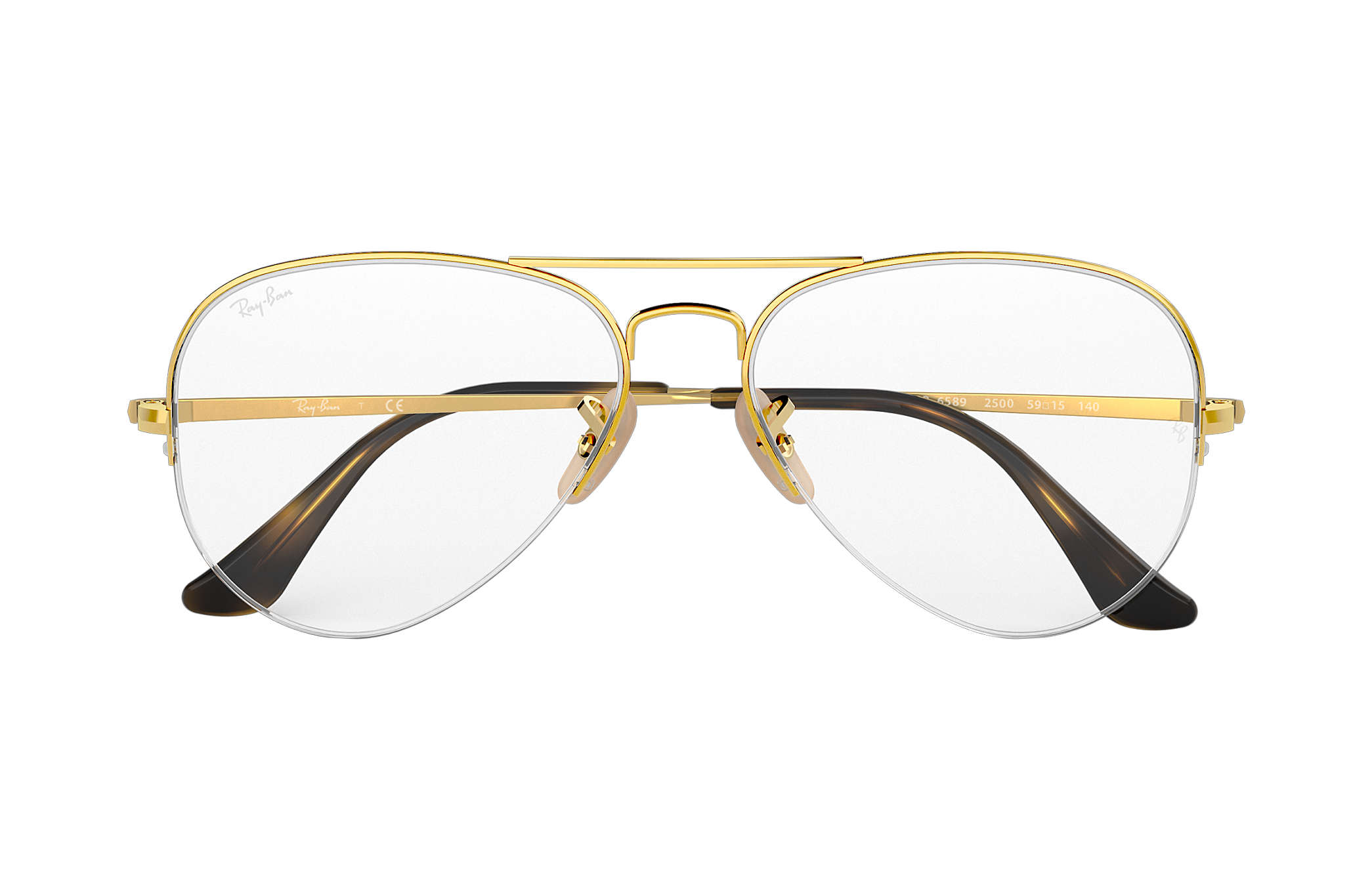 ee55ba0b0 Ray-Ban prescription glasses Aviator Gaze RB6589 Gold - Metal ...