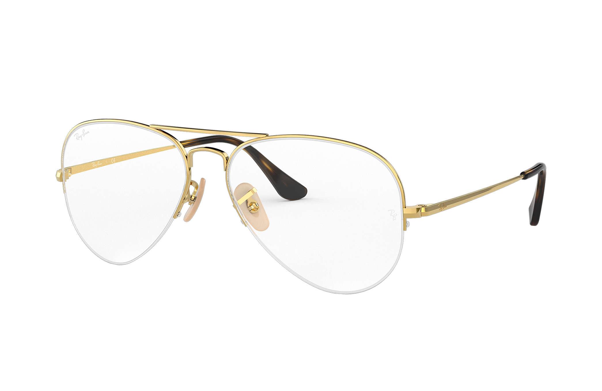 Ray-Ban prescription glasses Aviator Gaze RB6589 Gold - Metal ...
