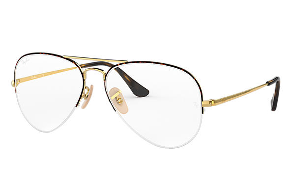 Ray-Ban 0RX6589-AVIATOR GAZE Tortoise,Gold; Gold OPTICAL