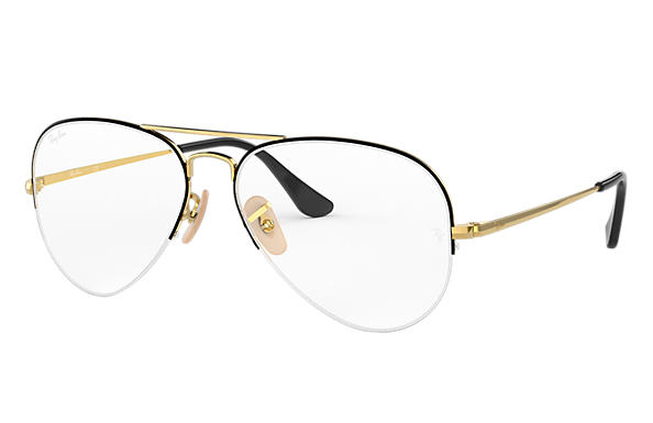 Ray-Ban 0RX6589-AVIATOR GAZE Black,Gold; Gold OPTICAL