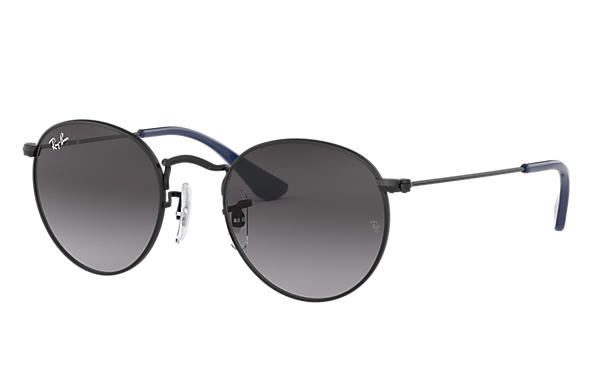 Ray-Ban Sunglasses ROUND METAL JUNIOR Black with Grey Gradient lens