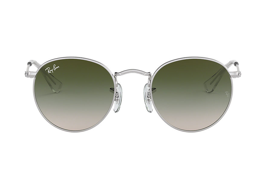 Ray-Ban ROUND METAL JUNIOR Silver with Green Gradient lens