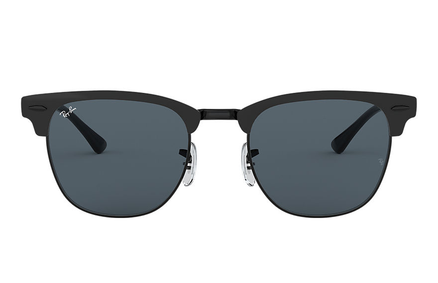 Ray-Ban Sunglasses CLUBMASTER METAL Matte Black with Blue Classic lens