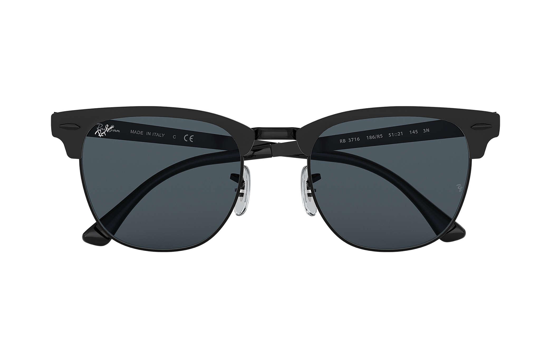 0d32008352 Ray-Ban Clubmaster Metal RB3716 Black - Metal - Blue Lenses ...