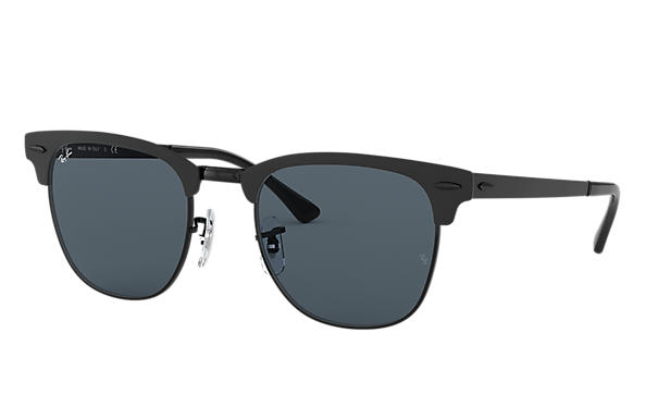 42b642f1bbe Ray-Ban Clubmaster Metal RB3716 Black - Metal - Blue Lenses ...