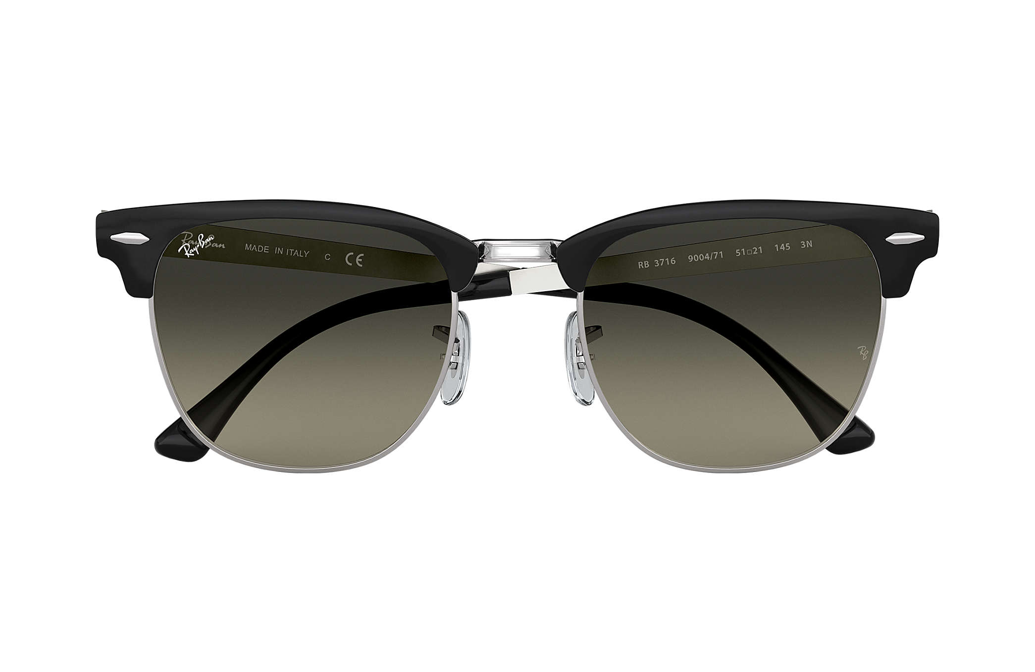 27c8921018 Ray-Ban Clubmaster Metal RB3716 Black - Metal - Grey Lenses ...