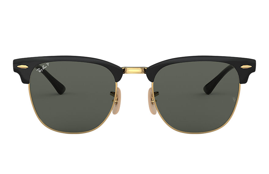 Ray-Ban Sunglasses CLUBMASTER METAL Polished Black with Green Classic G-15 lens