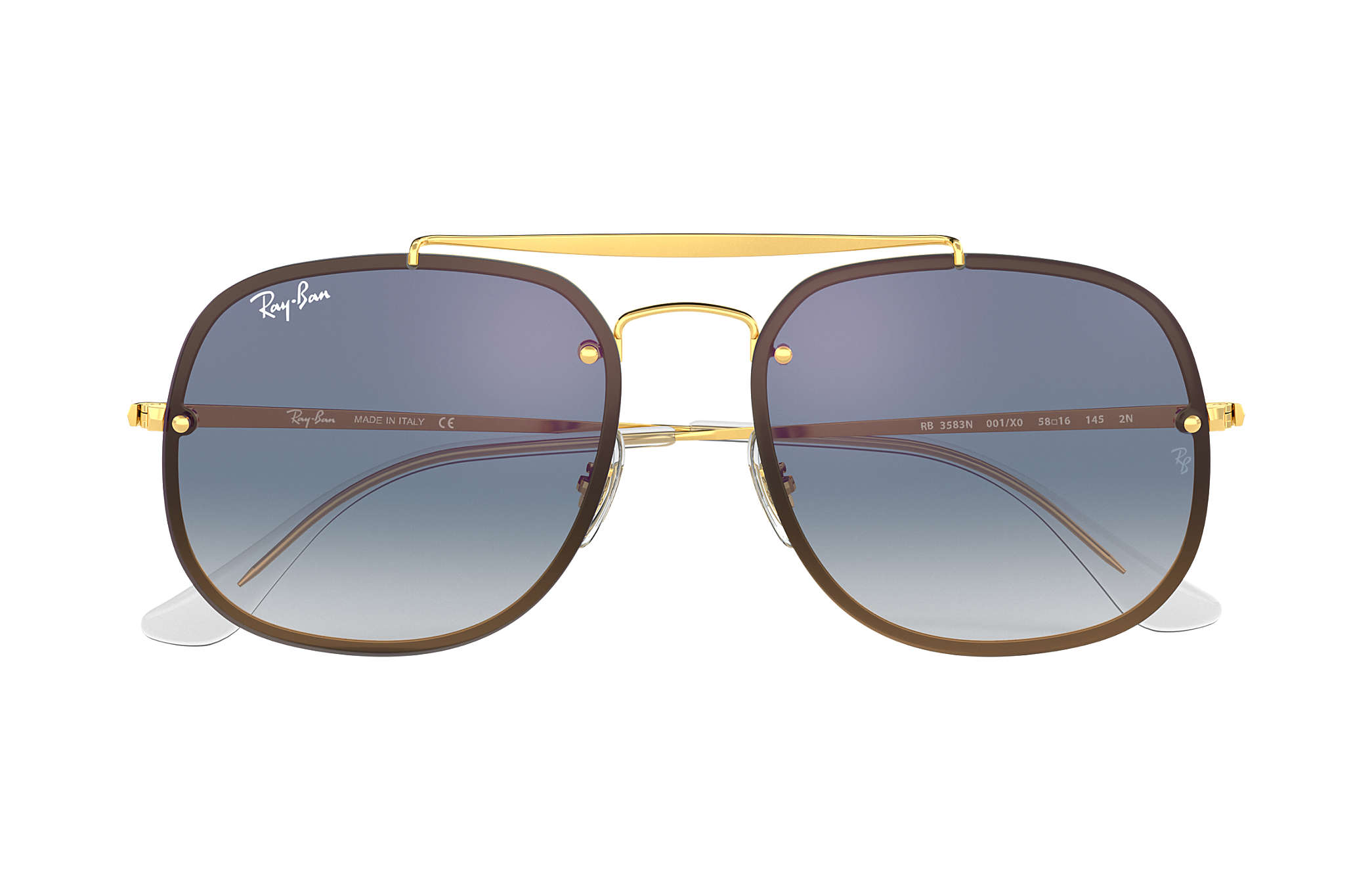 70ad66570a7d4 Ray-Ban Blaze General RB3583N Gold - Steel - Blue Lenses ...