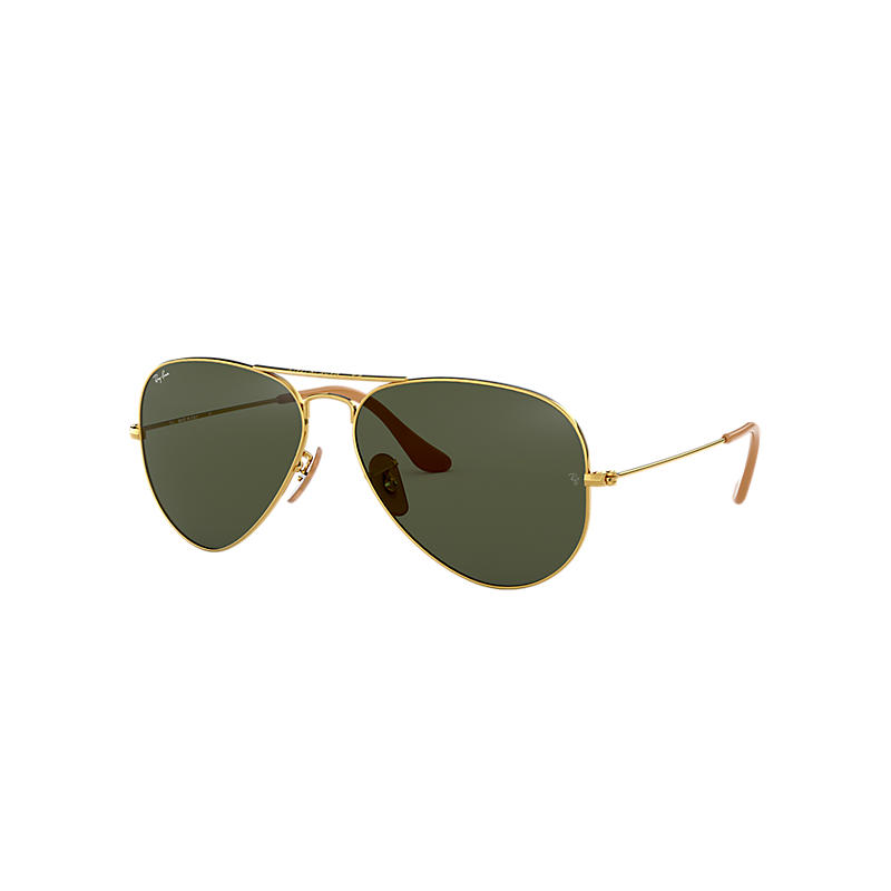 Ray-Ban Aviator 1937 Gold Sunglasses, Green Lenses