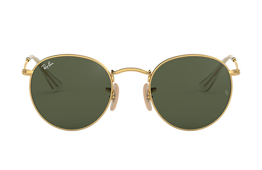 Ray-Ban Sunglasses ROUND FLAT LENSES Polished Gold with Green Classic G-15 lens