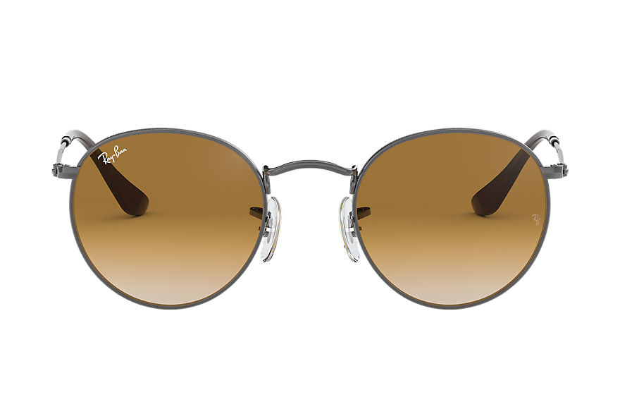 Ray-Ban ROUND FLAT LENSES Gunmetal with Light Brown Gradient lens