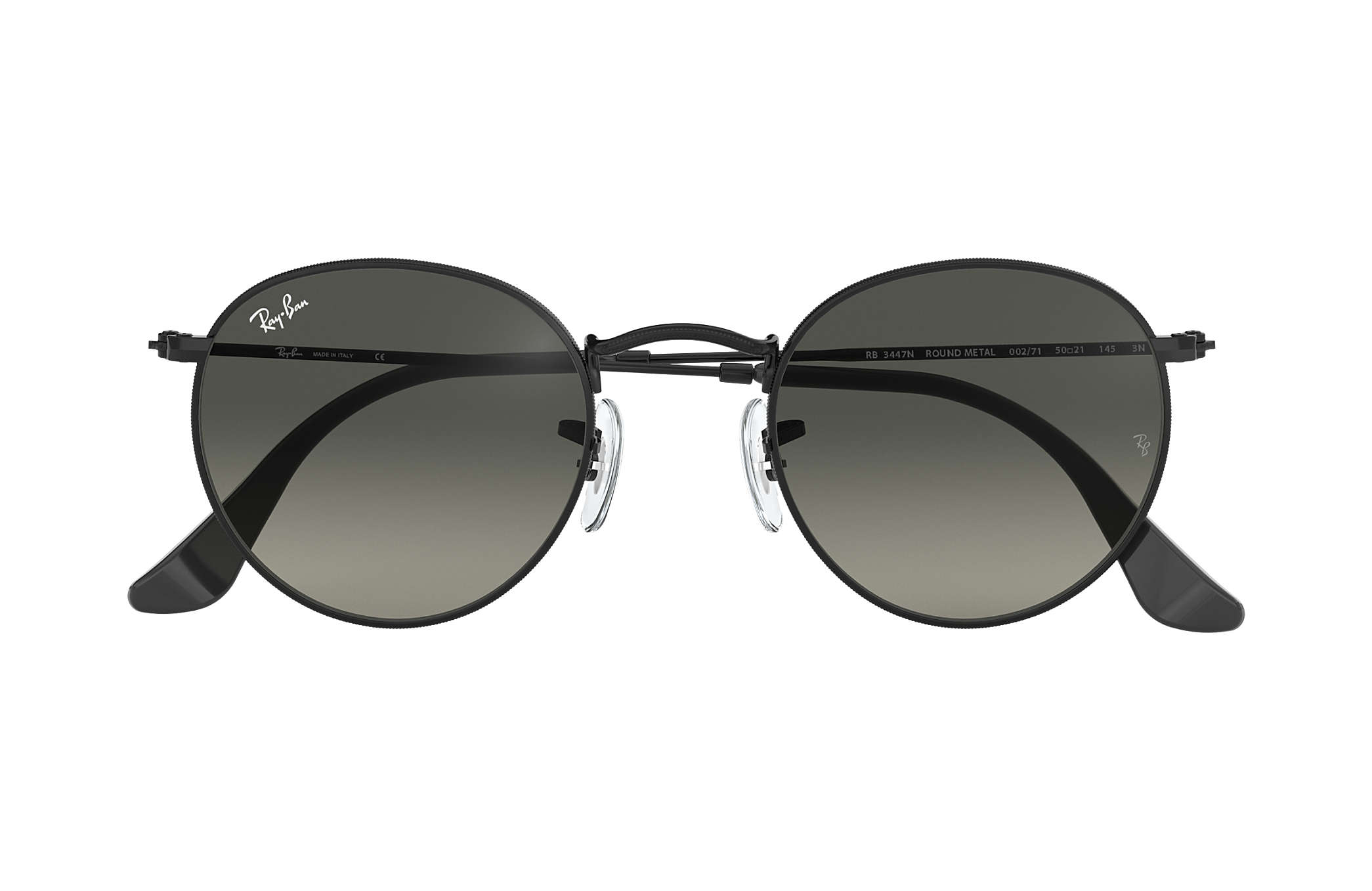5460d5f4b46e7 Ray-Ban Round Flat Lenses RB3447N Black - Metal - Grey Lenses ...