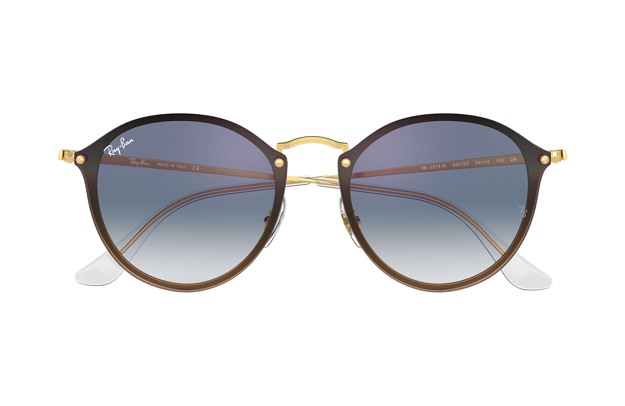 84a5425d1 Ray-Ban Blaze Round RB3574N Gold - Metal - Blue Lenses - 0RB3574N001 ...