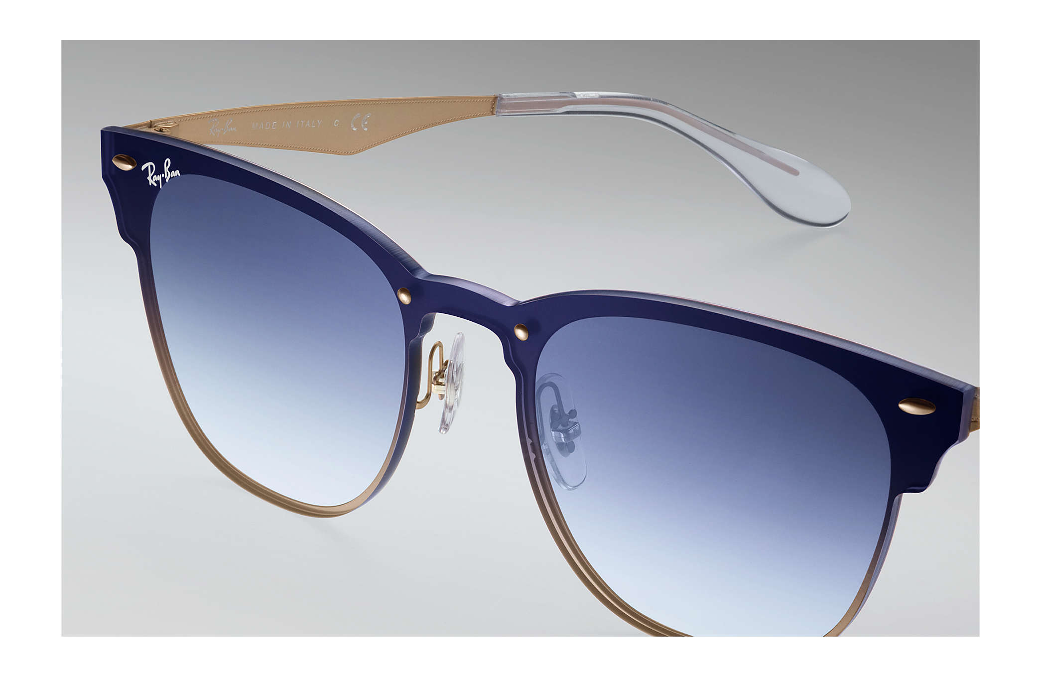 b7c921262d4 Ray-Ban Blaze Clubmaster RB3576N Gold - Steel - Blue Lenses ...